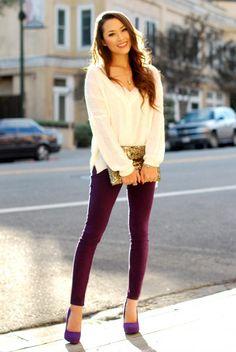 White cardigan - c/o Sheinside, Lace bralette - c/o Victoria's Secret PINK, Purple denim - Bullhead Black at Pacsun, Gold sequin clutch - c/o Hello Parry, Suede purple heels - Cathy Jean, Necklace - c/o MBLife