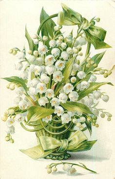 lilies of the valley in green basket with green bow at top of handle, sprig on table, vintage postcard