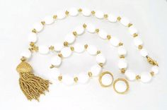 Fall Sale - Marked Down 20% ! #GiftIdeas FALL SALE - 20% off -  LH - 41   #Vintage White Trifari Bead Necklace, Bracelet & Earring Parure Set - Goldtone Nuggets and Tassel  This signed mod retro signed Trifari bead... #vintage #jewelry #teamlove #etsyretwt #ecochic #thejewelseeker