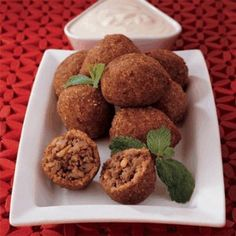 Arabic Food Recipes: Meat Kibbeh Akras Recipe I would use ground beef or turkey with beef bullion though Lebanese Recipes, Greek Recipes, Dog Food Recipes, Cooking Recipes, Lebanese Kibbe Recipe, Cooking Tips, Dessert Recipes, Middle East Food, Snacks