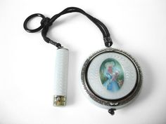 Beautiful antique white guilloche sterling silver compact and lipstick chatelaine with portrait of a lady by Foster & Bailey. This is marked F&B,