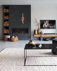 Interior Design Living Room, Living Room Designs, Home Fix, Fireplace Design, Modern Fireplace, Living Room Tv, Home Trends, Black Walls, New Room