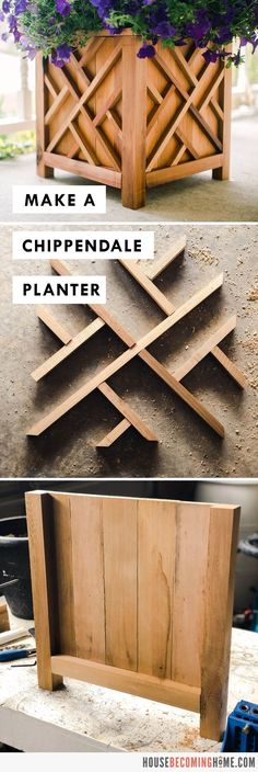 Make a Chippendale Planter : Free PDF Plans and Instructions from House Becoming Home How to build a chippendale planter using basic cedar lumber and simple joinery. Step by step instructions & free pdf plans for a DIY chippendale planter. Diy Garden Furniture, Diy Furniture Projects, Diy Wood Projects, Wood Crafts, Wood Project Plans, Wood Plans, At Home Projects, Project Ideas, Diy Furniture Making