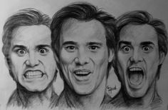 Expressions of Jim Carrey...by Greg Hand.....Drawen with a China marker on news print paper