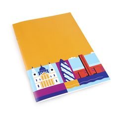 A4 plain paged sketchbook designed by Andy Tuohy, featuring landmarks in London on the front.