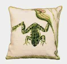 Picture of Water Frog Needlepoint Decorative Pillow