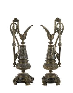 A pair of French ornate mantel ewers, gilded bronze, 19th century, 41cm high / MAD on Collections - Browse and find over 10,000 categories of collectables from around the world - antiques, stamps, coins, memorabilia, art, bottles, jewellery, furniture, medals, toys and more at madoncollections.com. Free to view - Free to Register - Visit today. #Bronze #DecorativeArts #MADonCollections #MADonC