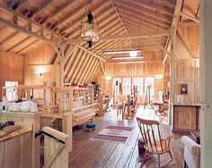 I want a barn!! Only {sacrilege!} I would paint the walls and ceiling just-a-tiny-bit-off white, to assist colour matching...  Weaving Studio, West Chester, PA http://www.archerbuchanan.com/images/archive/310340-lg-1.jpg