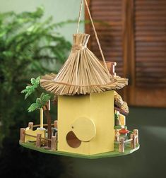 Tropical Tiki Hut Birdhouse — Pier 1 Wooden Hut, Wooden Bird Houses, Decorative Bird Houses, Tiki Hut, Small Palm Trees, Thatched Roof, The Ordinary, Bar Stools, Tropical