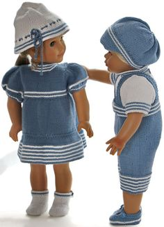 18 inch doll clothes knitting patterns - Beautiful summer clothes for your girl doll and your boy doll Skirt Patterns Sewing, Doll Clothes Patterns, Clothing Patterns, Knitting Patterns, Boy Doll Clothes, Knitting Dolls Clothes, Knitted Dolls, Baby Born Kleidung, American Girl