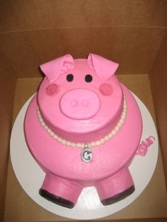 Glamour Pig Cake - I want this sooo bad! Best cake EVER! Cupcakes, Cupcake Cakes, Pastel Mickey, Piggy Cake, Pig Cookies, Farm Cake, Pig Birthday, Happy Birthday, Animal Cakes