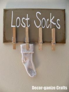 DIY Tutorial: Home / Laundry Organization with a 'Lost Socks' Sign - Bead&Cord