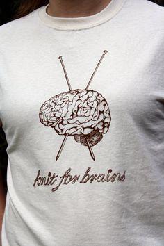 Knit for Brains LARGE Original Design Knitting Tee by DecorNoir, $15.00
