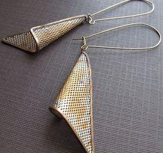 Geometric Earrings, Triangle Earrings, Silver Aged Mesh, 1970s Jewelry Vintage Modern Drop Earrings Triangle Dangle Earrings. $19.00, via Etsy.