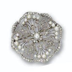 Diamond and Cultured Pearl Brooch circa 1915.