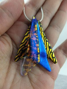 Handmade Dichroic Glass Slider Pendant * FAIRY WINGS * Cheryl Smith Original