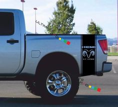 TRUCK BED Sticker HEMI DODGE RAM HEAD DECALS Mopar COLOR Decal - Truck bed decals custom
