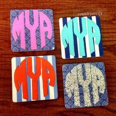 cute craft ~ DIY monogram coasters!