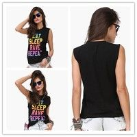 Wish | Sexy Fashion Women Colorful  Letter Printed Casual Sleeveless Rounder Collar Loose Tank Top