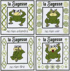hear no evil, see no evil.. frogs  free cross stitch