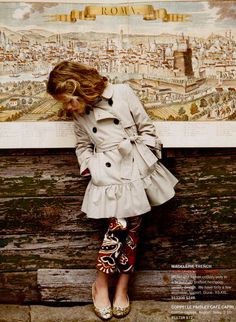 Absolutely the most darling little girl's coat that I have ever laid my eyes on!  And those capris and sparkly flats...my!