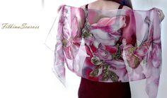 Magnolia Silk Scarf Hand Painted Scarf Chiffon by FilkinaScarves
