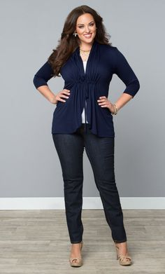 Our plus size Sunset Stroll Bellini in a classic navy is the perfect cardigan for white jeans. Browse more made in the USA styles at . Casual Work Outfits, Business Casual Outfits, Professional Outfits, Curvy Outfits, Moda Fashion, Curvy Fashion, Girl Fashion, Fashion Outfits, Womens Fashion