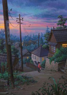 Anime Backgrounds Wallpapers, Anime Scenery Wallpaper, Animes Wallpapers, Studio Ghibli Art, Studio Ghibli Movies, Studio Ghibli Collection, Aesthetic Art, Aesthetic Anime, Film Animation Japonais