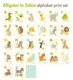 SET de cartes ALPHABET 26 - Alligator à Zebra - art de la crèche pour les enfants