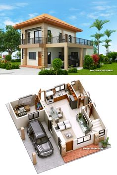 Havana is a two storey house with 3 bedrooms with usable floor area of 134 square meters. Note that the area of the terraces are not included, for purposes of Two Story House Design, 2 Storey House Design, Bungalow House Design, House Front Design, Model House Plan, My House Plans, Small House Plans, Best Small House Designs, Modern Small House Design