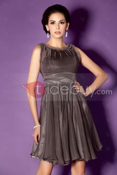 Faddish Ruched A-Line Jewel Neckline Knee-Length Taline's Bridesmaid Dress