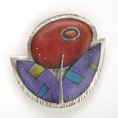"""Posie"" pin/pendant by Deb Karash sterling silver, copper, brass, prismacolor pencil #drawingonmetal"