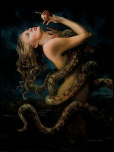 """Eve"" Gail Potocki. 'Lilith was banished from the world of Adam and Eve but she occasionally managed to sneak back. It's often said that the serpent that tempted Eve in the Garden of Eden was none other than Lilith and many Medieval scenes of the Temptation show the serpent as a woman from the waist up, handing over the fatal fruit to bring about the Fall.'"