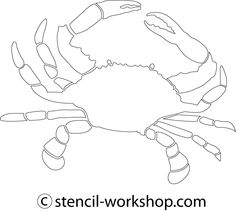 Nifty image with crab stencil printable