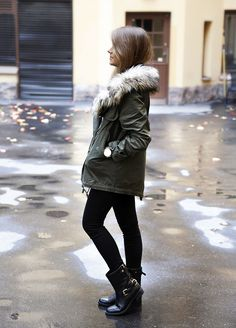 winter parka and boots. Not sure if this is fur or faux. I'd only like it if it was faux.