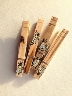 WOODEN BEE CLOTHESPIN hand painted magnet by SugarAndPaint on Etsy