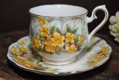 ROYAL ALBERT Partridge Pea Yellow Vintage Tea by HoneyandBumble, $18.00