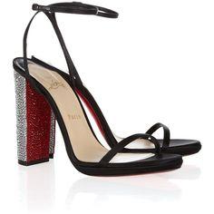Christian Louboutin Au Palace 120 crystal-heel satin sandals via Polyvore