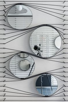 Round mirrors wall dock made.with elastic. #mirrors #elastic #round Via http://bit.ly/tdwalker