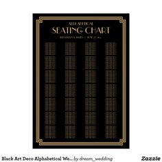 Black Art Deco Alphabetical Wedding Seating Chart