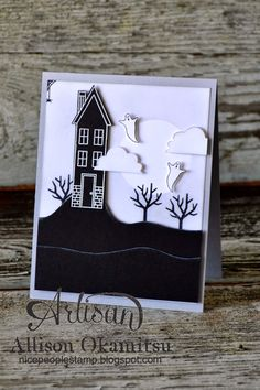 Holiday Home stamp set with matching framelits nice people STAMP!: Holiday Home goes Halloween! Stampin' Up! by Allison Okamitsu Theme Halloween, Halloween Cards, Holidays Halloween, Halloween House, Halloween Scrapbook, Spooky Halloween, Fall Cards, Holiday Cards, Minis