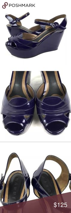 Marni Purple Patent Leather Wedge Heels 9.5 40 •  Brand: Marni   •  Color: Purple  •  Size: US: 9.5/10, Euro: 40  •  Material: 100% Genuine Leather Upper  •  Condition: *Very Good Condition - Nice Shoes! (See Photos) Only Slight Marks Noted at Toes/shoes Marni Shoes Platforms