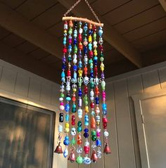 Wind Chime with Glass Beads and Bells Mesquite Wood, Barn Wood Projects, Suncatchers, Copper Wire, Wind Chimes, Glass Beads, Ceiling Lights, Crafty, Decor Ideas
