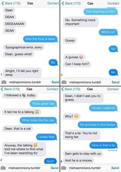 hahaha omg Cas text messaging Dean Supernatural