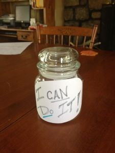 """Place a reward for working out at the bottom of the jar.  Place 30 things that motivate you - quotes, images, etc in the jar.  Take one piece of motivation from the far each day.  When the workout is hard or just getting to the gym is tough - look at your motivation (repeat the quote to yourself or """"you are worth it"""").  When you have used all 30 - give yourself your reward!  YOU ARE WORTH IT!!!"""