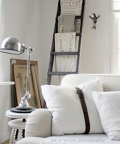 interesting - old belt around linen down pillows! Deco Design, Love Home, Scandinavian Home, White Houses, House Colors, Home And Living, Ladder Decor, Decor Styles, Living Spaces