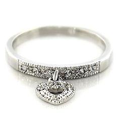 Heart Dangle Ring Rhodium Plated Austrian Crystal Dangle Heart Ring Sz 7//https://www.facebook.com/RingBlingLady