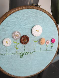 Vintage Button Flower Embroidery Hoop.  I would like to do this with the girls.  TCM                                                                                                                                                                                 More