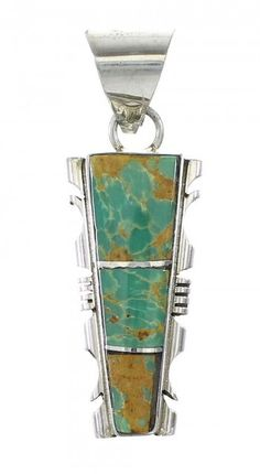 Genuine Sterling Silver Navajo Turquoise Inlay Pendant www.silvertribe.com