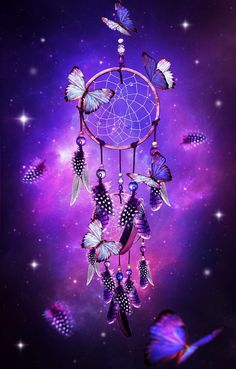 dream catcher with butterflies & purple background